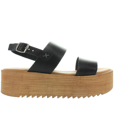 Musse & Cloud Isadora - Black Leather Dual Band High Platform/Wedge Sling Sandal