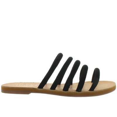Musse & Cloud Jazzy - Black Suede Five Strap Flat Slide Sandal