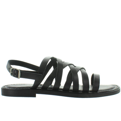 Musse & Cloud Kenia - Black Leather Strappy Flat Sling Sandal