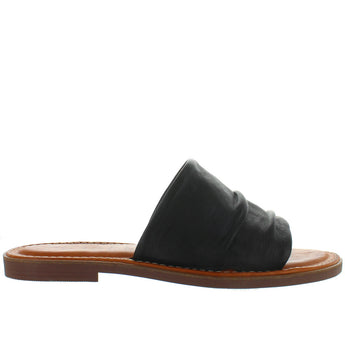Musse & Cloud Kennice - Black Leather Flat Slide Sandal