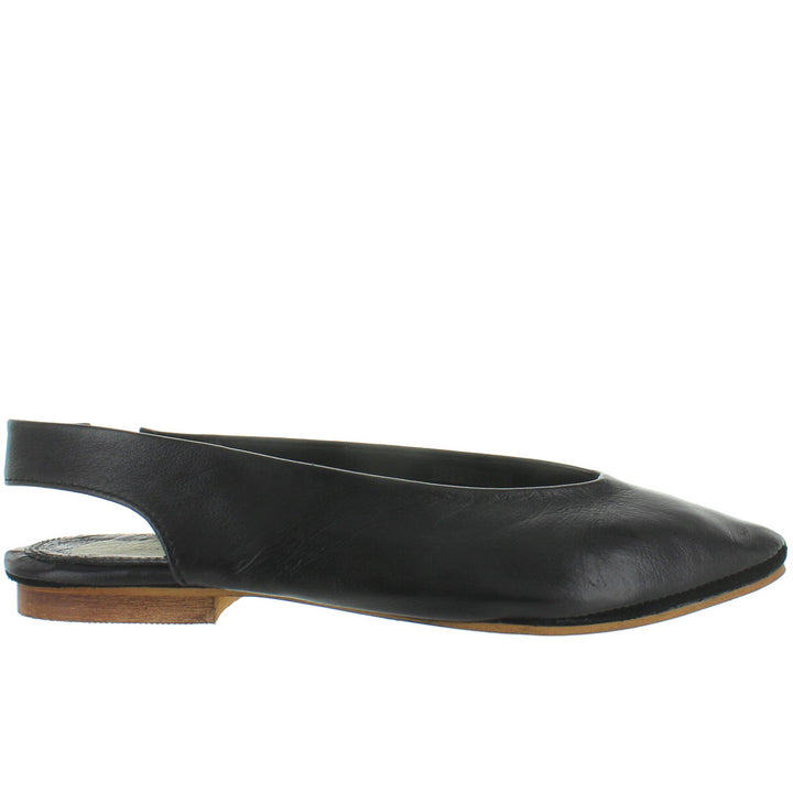 Musse & Cloud Shivani - Black Pointy Toe Sling-Back Flat