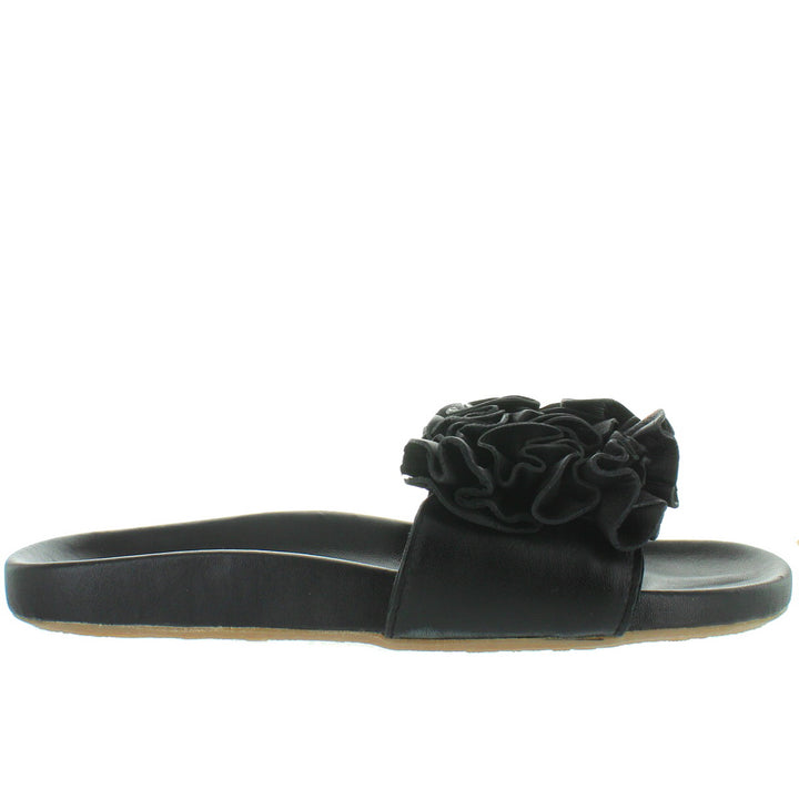 Musse & Cloud Sisley - Black Suede Ruffled Flower Footbed Slide Sandal