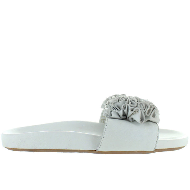 Musse & Cloud Sisley - White Suede Ruffled Flower Footbed Slide Sandal