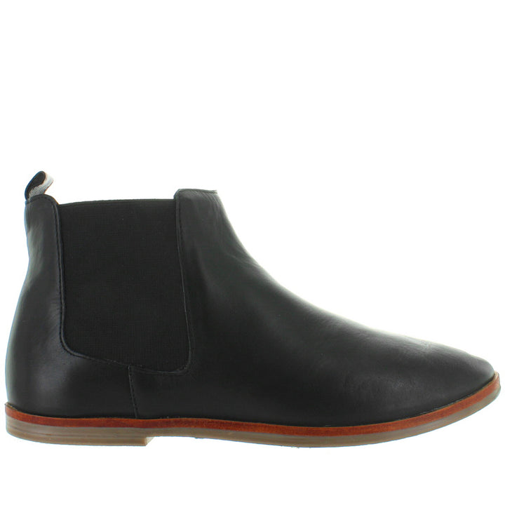 Musse & Cloud Stacey - Black Leather Pull-On Ankle Bootie