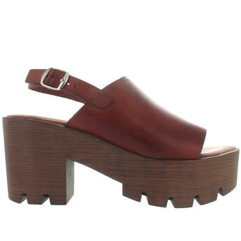 Musse & Cloud Taiki - Brown Burnished Leather High Chunky Platform/Heel Sling Sandal