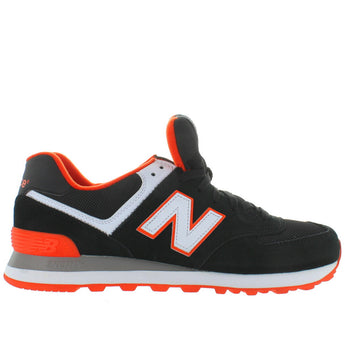 New Balance 574 Core Plus- Black/Orange Suede/Mesh Classic Running Sneaker