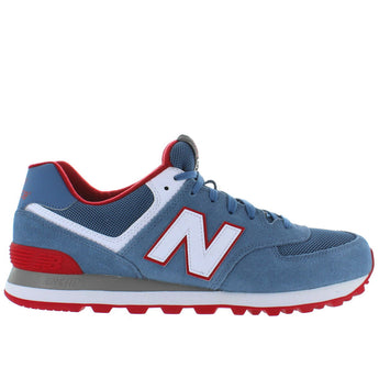 New Balance 574 Core Plus - Blue/Red Suede/Mesh Classic Running Sneaker