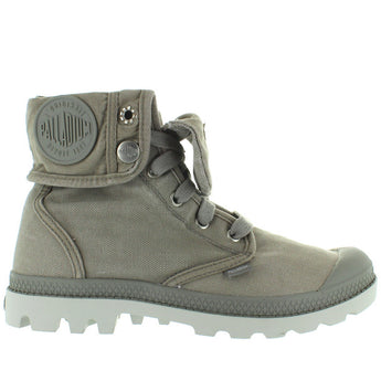 Palladium Pallabrouse Baggy - Concrete/Silver Birch Canvas Lace Fold-Over Bootie