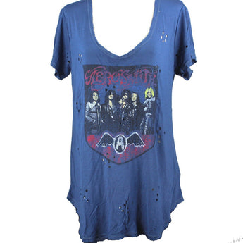 Recycled Karma Aerosmith - Deep Blue Multi Graphic Tee