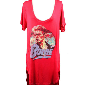 Recycled Karma David Bowie- Vintage Inspired Red Graphic Tee