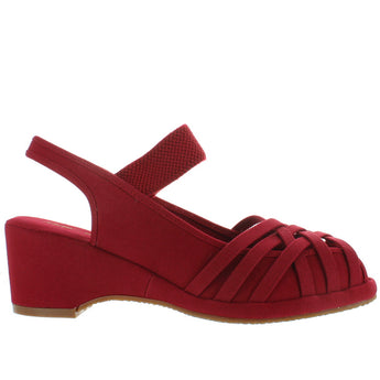 Remix Classic Penny 2 - Red Textile Vintage Wedge Sandal