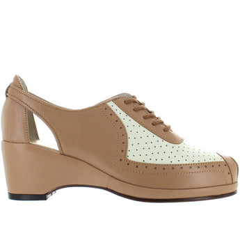 Remix Classic Spectator 2 - Tan/Ivory Leather Vintage Wedge Pump