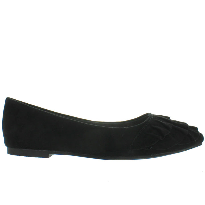Seychelles Downstage - Black Suede Ruffled Slip-On Flat