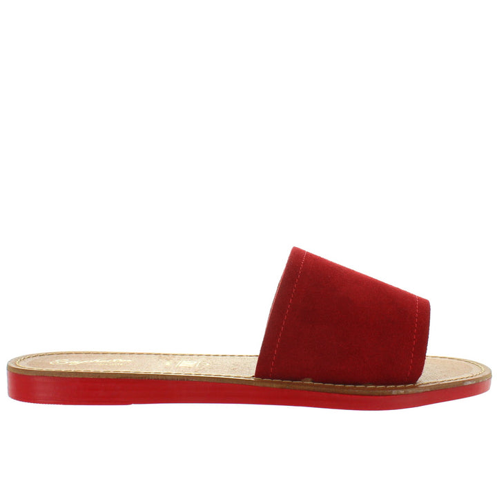 Seychelles Leisure - Red Suede Flat Slide Sandal