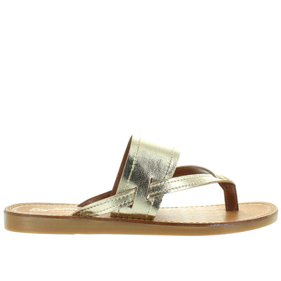 Seychelles Mosaic - Gold Leather Thong Slide Sandal