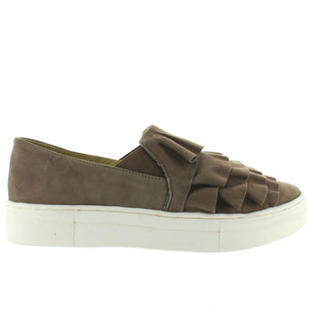 Seychelles Quake - Taupe Suede Ruffled Slip-On Platform Sneaker