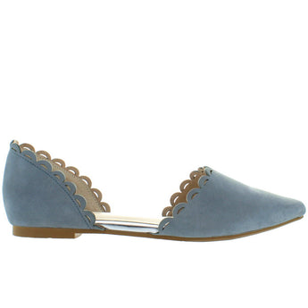 Seychelles Research - Mid-Blue Leather D'Orsay Flat