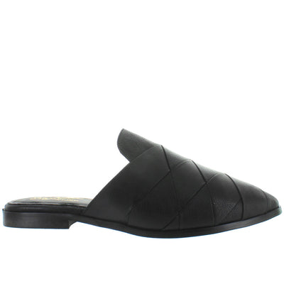 Seychelles Survival - Black Woven Leather Flat Mule