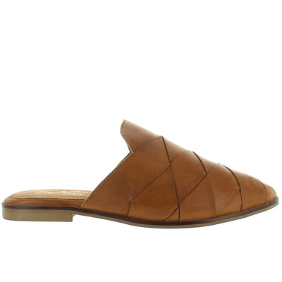 Seychelles Survival - Tan Woven Leather Flat Mule