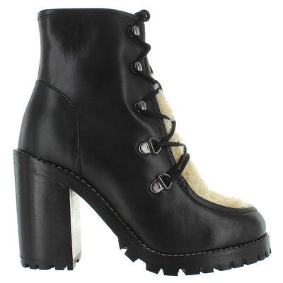 Seychelles Theater - Black Leather Shearling Lace Bootie
