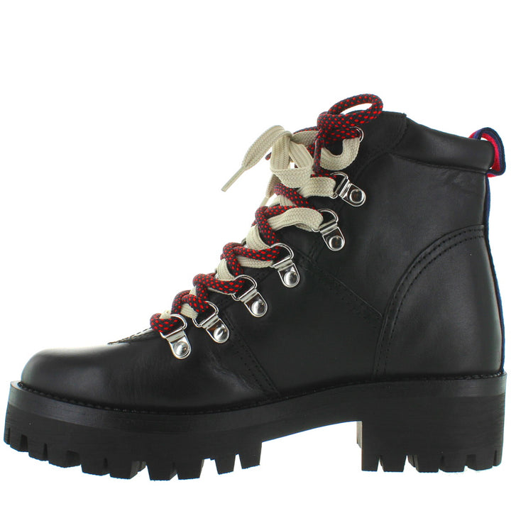 f30b82e700c Steve Madden Bam - Black Leather Lug Hiking Bootie – Kixters.com