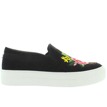 Steve Madden Garden - Black/Multi Embroidered Slip-On Platform Sneaker