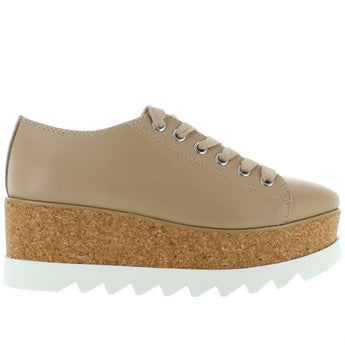 Steve Madden Korrie - Natural Leather High Platform Sneaker