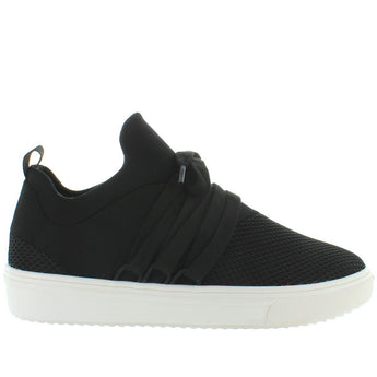 Steve Madden Lancer - Black Textured Nylon Pull-On Sneaker