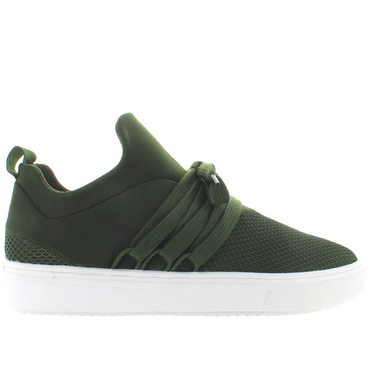 Steve Madden Lancer - Olive Textured Nylon Pull-On Sneaker