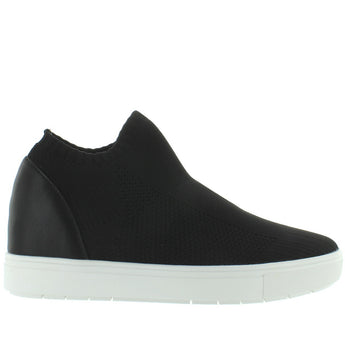 Steve Madden Sly - Black Stretch Knit Slip-On Platform/Wedge Sneaker