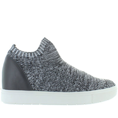 Steve Madden Sly - Grey Multi Stretch Knit Slip-On Platform/Wedge Sneaker