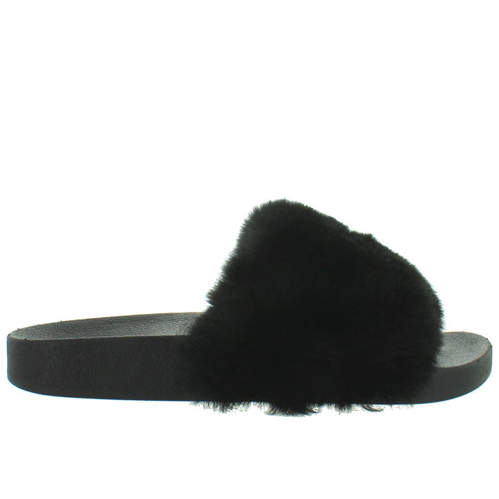 Steve Madden Softey - Black Faux Fur Footbed Slide Sandal