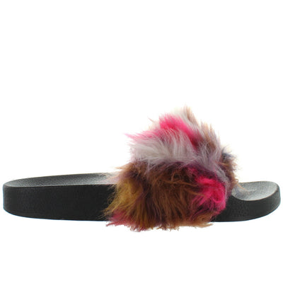 Steve Madden Softey - Multi Faux Fur Footbed Slide Sandal