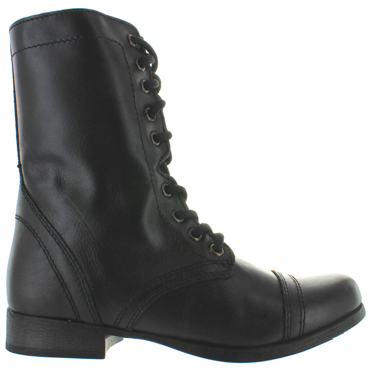Steve Madden Troopa - Black Leather Combat Boot