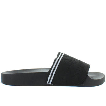 Steve Madden Vibe - Black Knit Footbed Slide Sandal