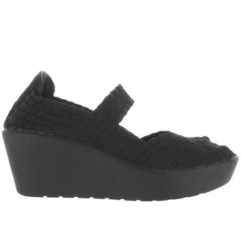 Steven Brynn - Black Elasticized Woven Fabric Mary Jane Comfort Platform/Wedge