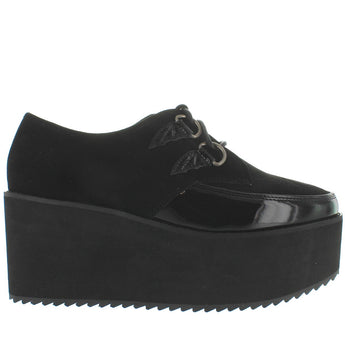 Strange Cvlt Bela - Black High Platform/Wedge D-Ring Creeper