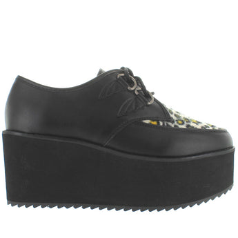 Strange Cvlt Bela - Black/Leopard High Platform/Wedge D-Ring Creeper
