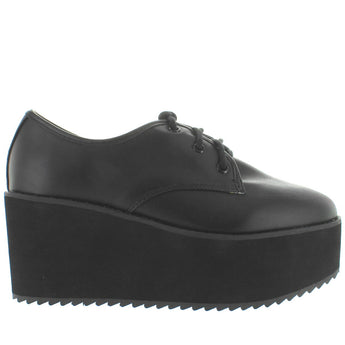 Strange Cvlt Stomp Lo - Black High Platform/Wedge Oxford