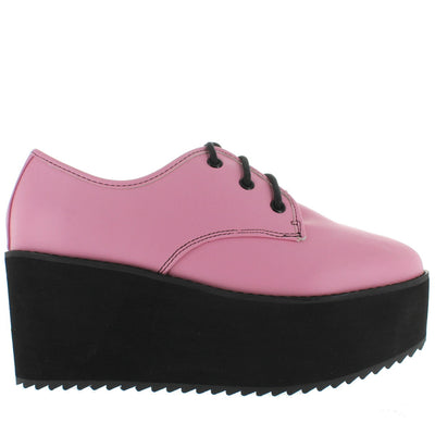 Strange Cvlt Stomp Lo - Pink High Platform/Wedge Oxford