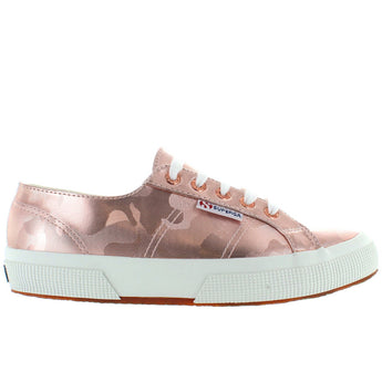 Superga 2750 Army Chrome - Rose Gold Metallic Embossed Camo Lace Sneaker