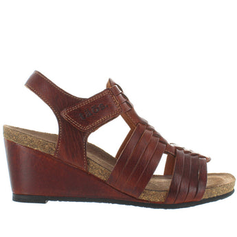 Taos Tradition - Brown Leather Huarache-Style Wedge Sandal