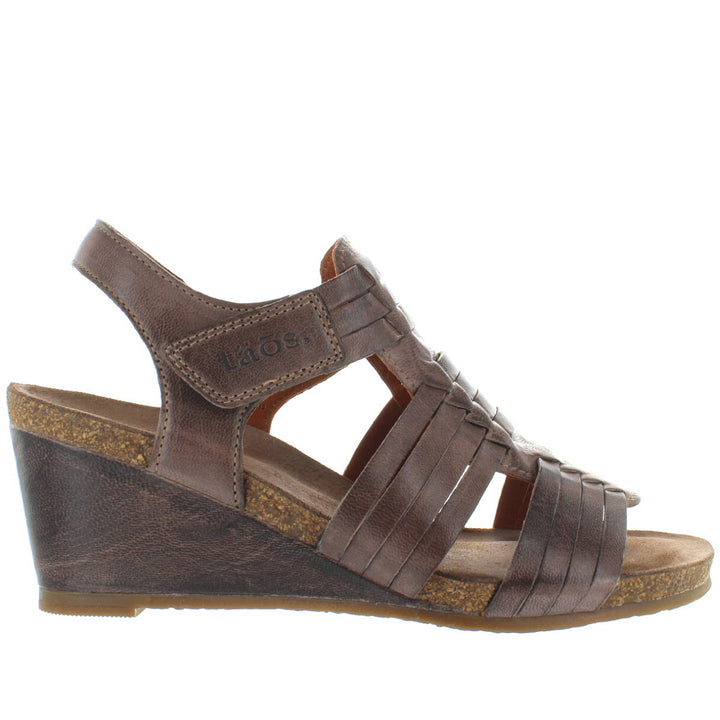 Taos Tradition - Dark Taupe Leather Huarache-Style Wedge Sandal