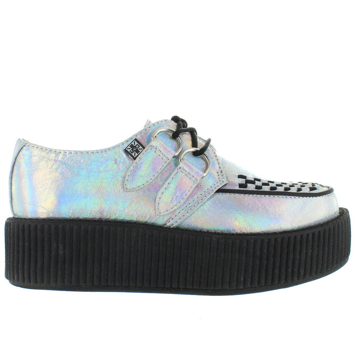 T.U.K. Mondo Creeper - Silver Crinkled Iridescent Leather High Platform Mondo Creeper