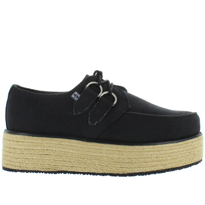 T.U.K. Espadrille Creeper - Black Canvas Lace-Up Raffia Platform Oxford