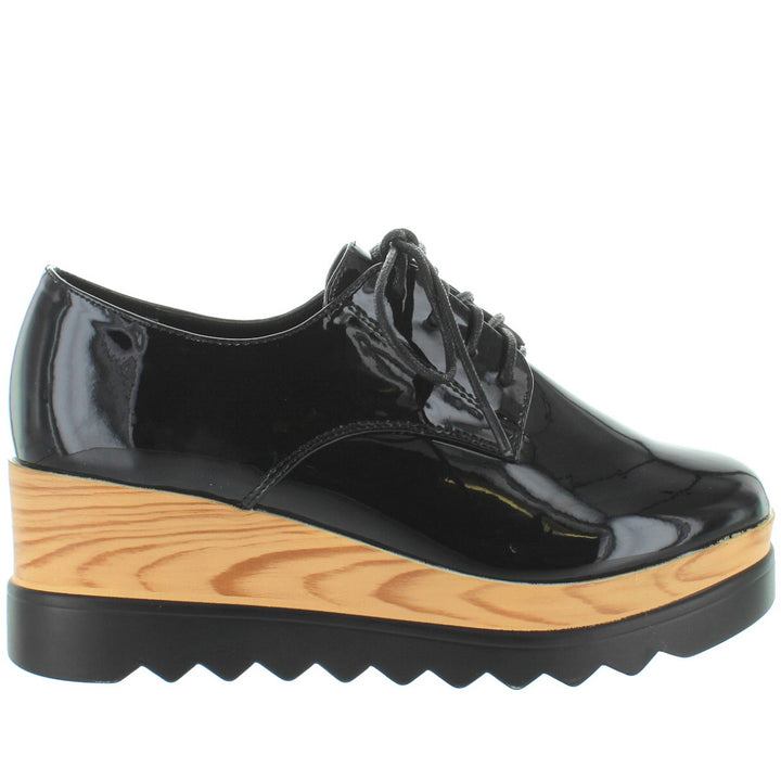 Wanted Beekman - Black Patent High Platform/Wedge Oxford