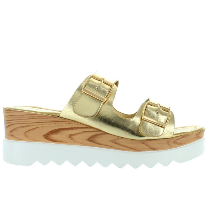Wanted Branson - Gold Dual Buckle Platform/Wedge Slide Sandal