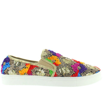 Wanted Dali - Gold Multi Embroidered Floral Slip-On Sneaker