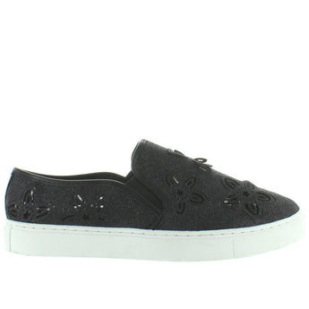 Wanted Flory - Black Glitter Laser-Cut Floral Slip-On Sneaker