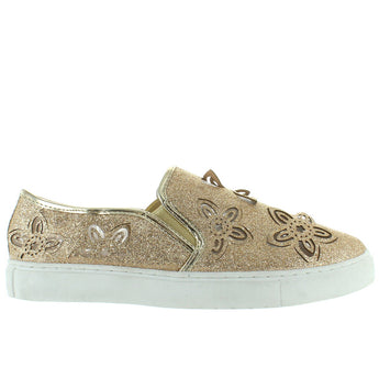 Wanted Flory - Gold Glitter Laser-Cut Floral Slip-On Sneaker